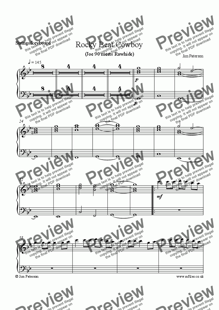page one of the Strings / Keyboard part from Rocky Beat Cowboy