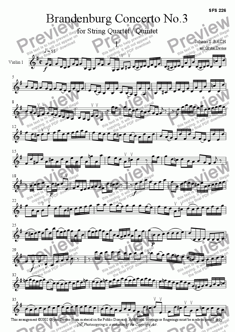 page one of the Violin 1 part from Brandenburg Concerto No.3 - 1. Allegro