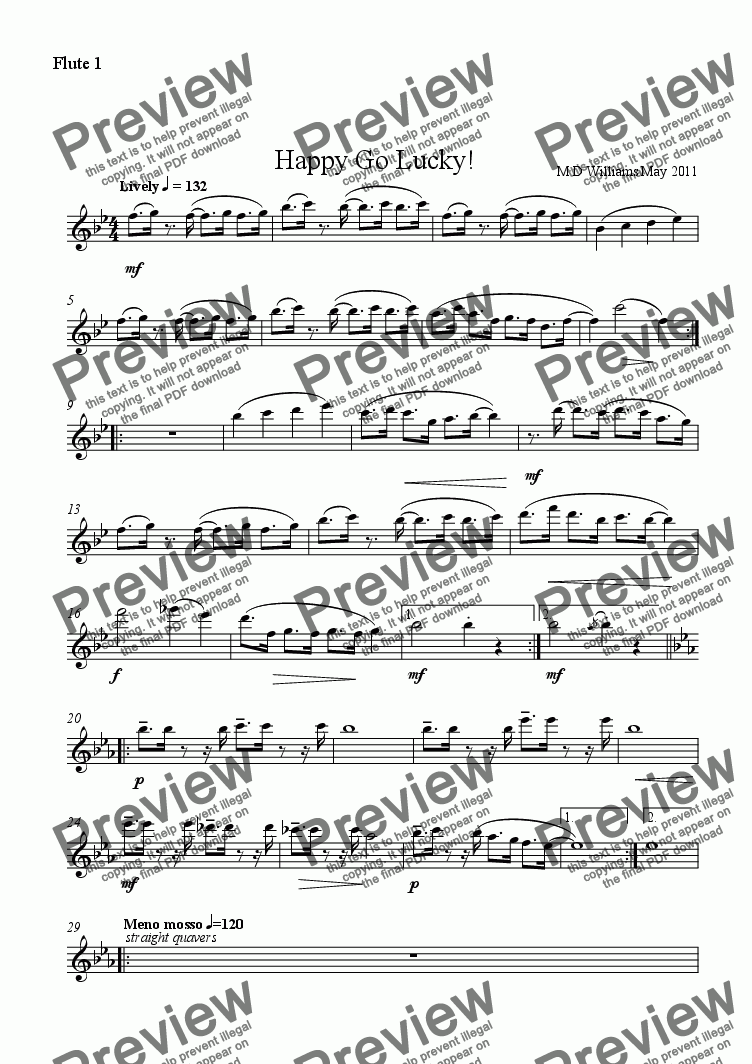 page one of the flute 1 part from Flute Quartet: Happy Go Lucky