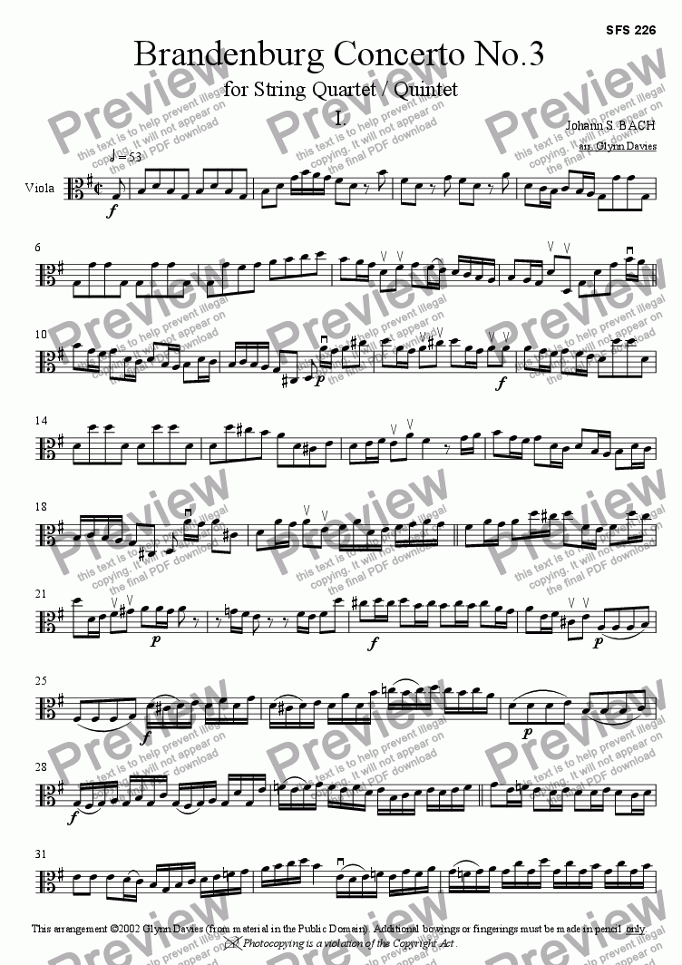 page one of the Viola part from Brandenburg Concerto No.3 - 1. Allegro