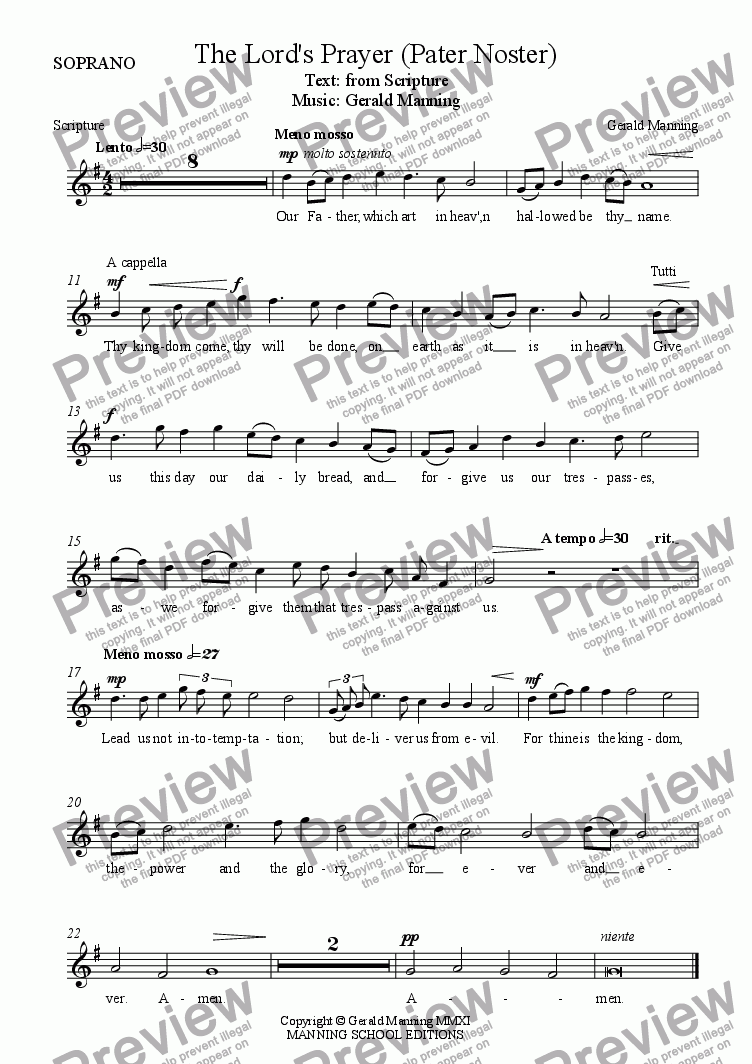 page one of the Soprano part from A setting of the Lord's Prayer (Pater Noster) for Parish Choir & Organ by Gerald Manning