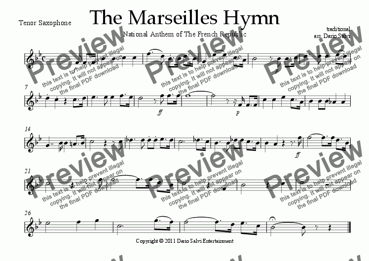 page one of the Tenor Sax part from La Marseillaise - French National Anthem