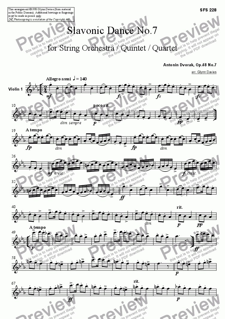 page one of the Violin 1 part from Slavonic Dance, Op.46 No.7