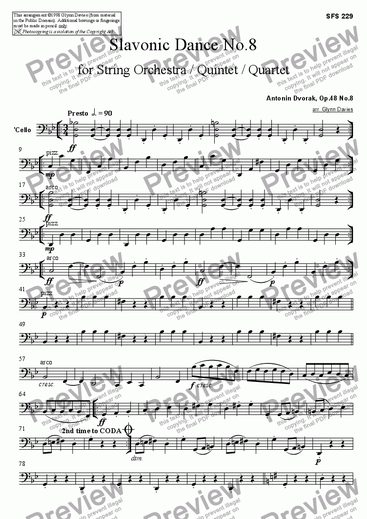 page one of the Cello part from Slavonic Dance, Op.46 No.8
