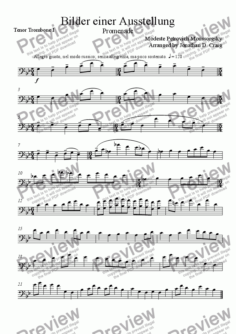 page one of the Tenor Trombone I part from Promenade