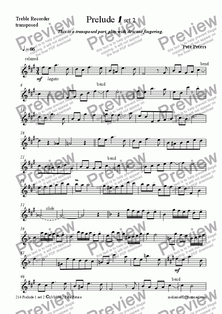 page one of the Treble recorder transposed part from Prelude 1 set 2 [solo inst + pno]