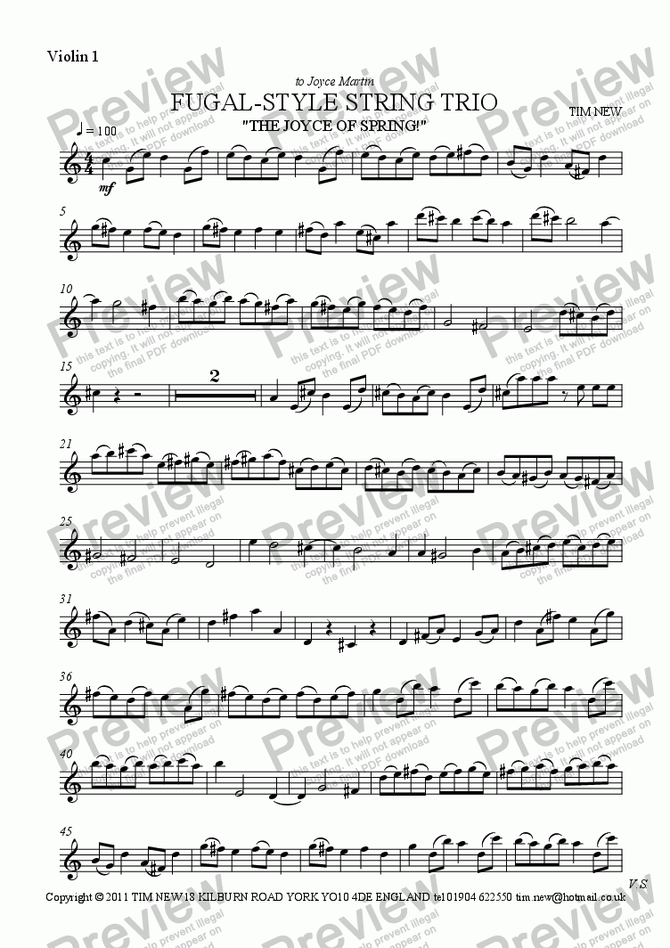 page one of the violin 1 part from Fugal style string trio (The Joyce of Spring)