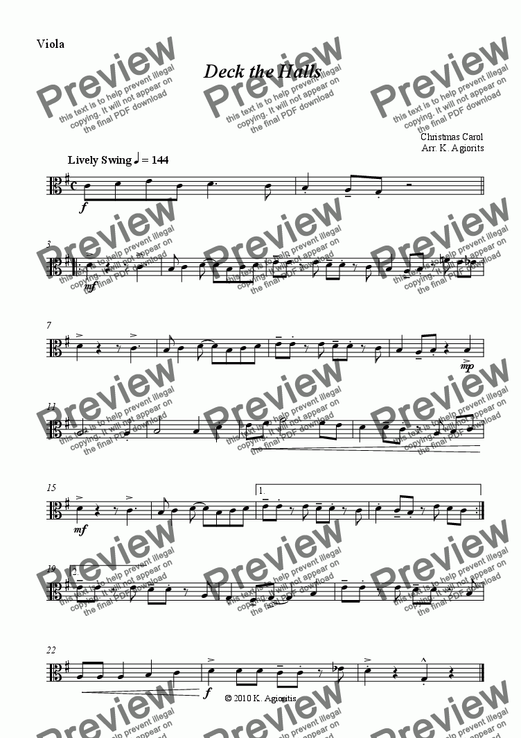 page one of the Viola part from Deck the Halls - Jazz Carol for String Quartet
