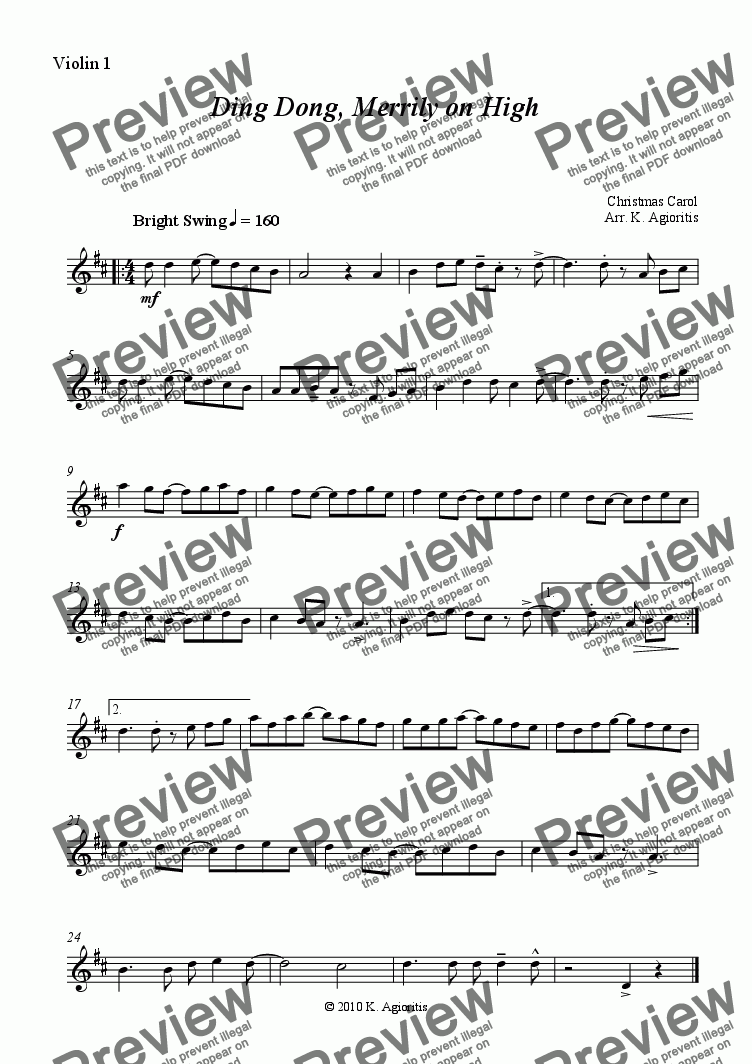 page one of the Violin 1 part from Ding Dong Merrily on High - Jazz Carol for String Quartet