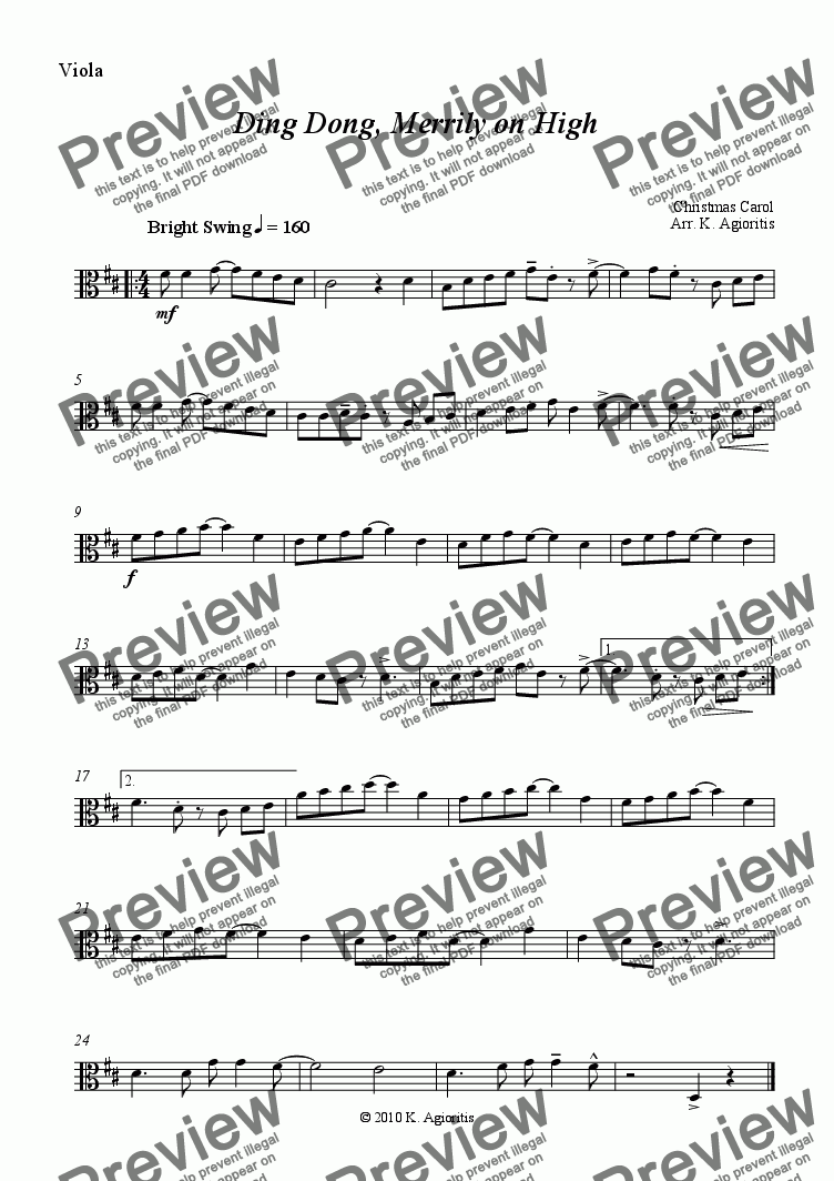page one of the Viola part from Ding Dong Merrily on High - Jazz Carol for String Quartet