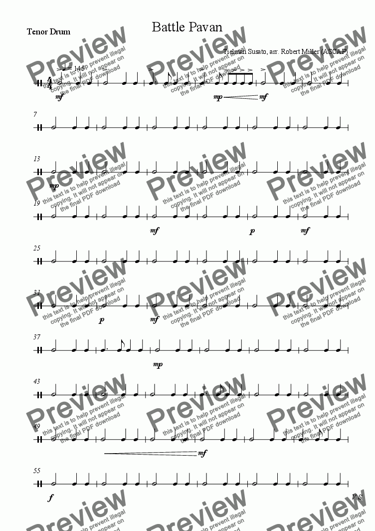 page one of the Tenor Drum part from Battle Pavane