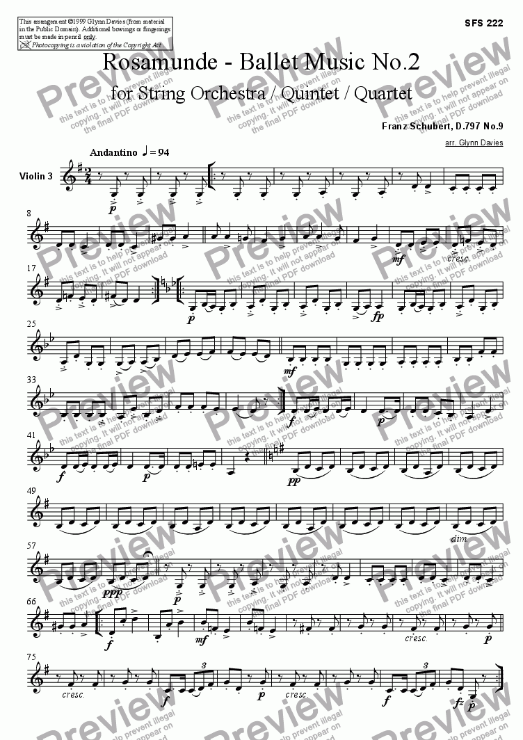 page one of the Violin 3 part from Rosamunde - Ballet Music No.2