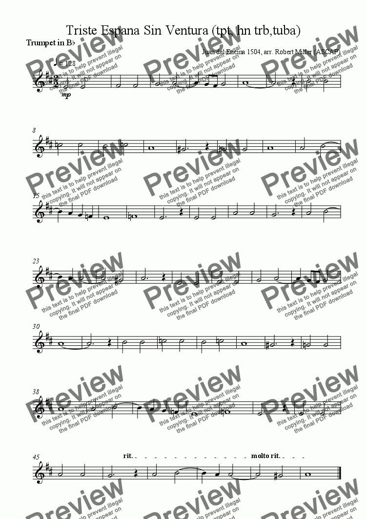 page one of the Trumpet in Bb part from Triste España Sin Ventura (trumpet, horn, trombone and tuba)
