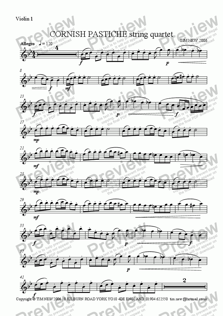 page one of the violin 1 part from CORNISH PASTICHE String Quartet
