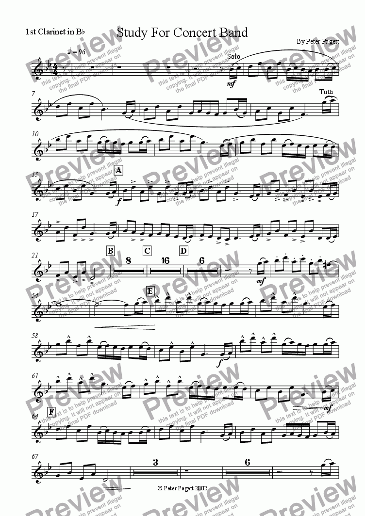 page one of the 1st Clarinet part from Study For Concert Band