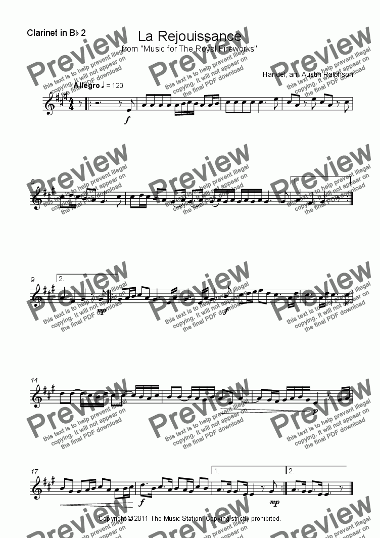 page one of the Clarinet 2 part from La Rejouissance (Fireworks) - clarinet quintet