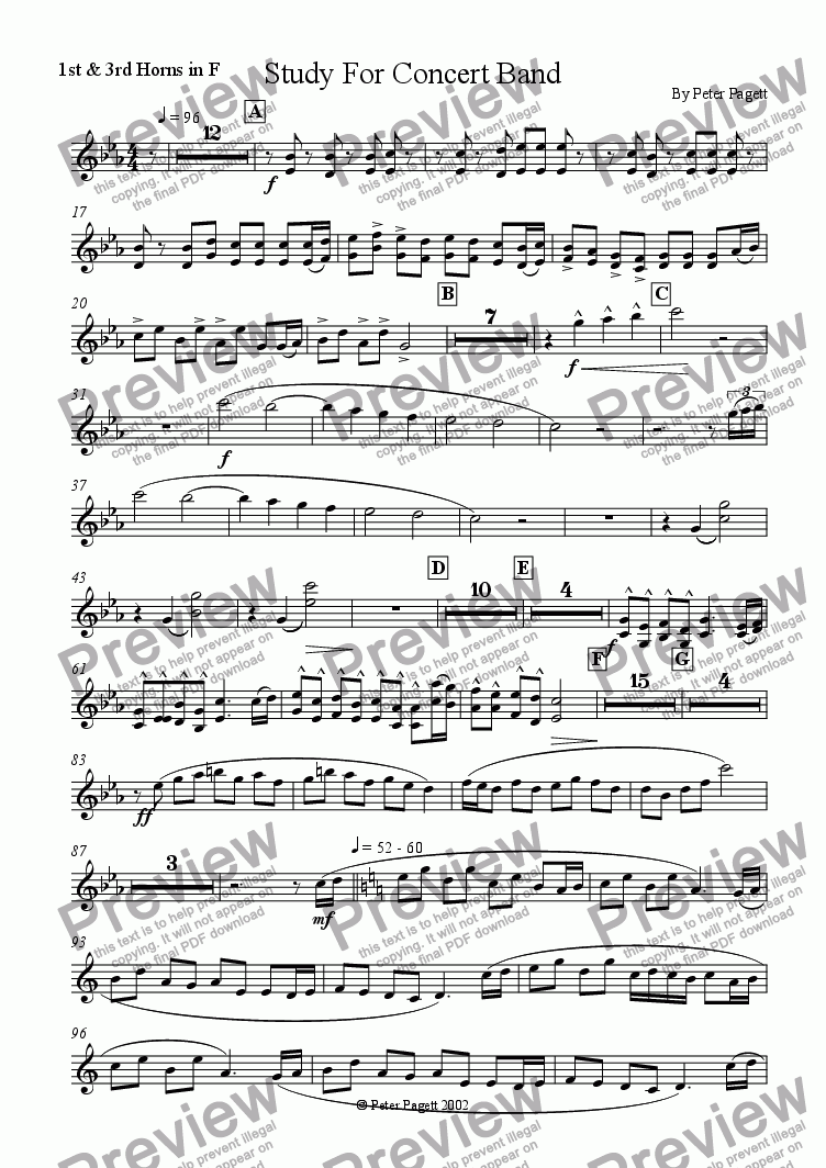 page one of the 1st & 3rd French Horns part from Study For Concert Band
