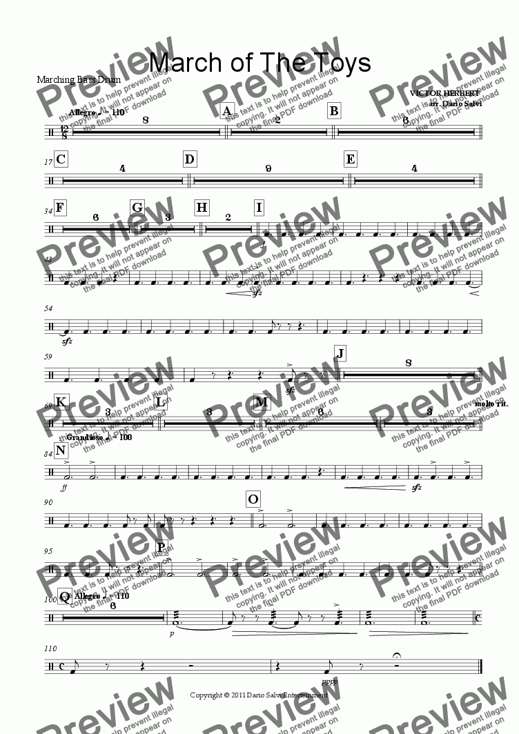 page one of the Bass Drum part from Brass Band - March of the Toys from Babes in Toyland