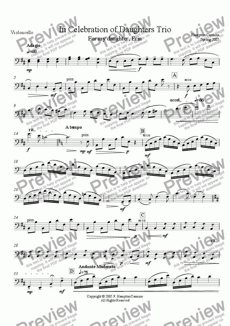 page one of the Cello part from In Celebration of Daughters - Piano Trio