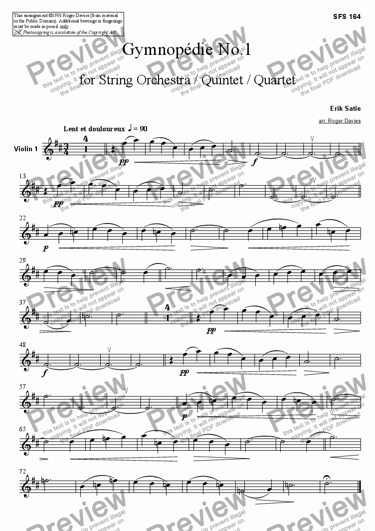 page one of the Violin 1 part from Gymnopedie No.1