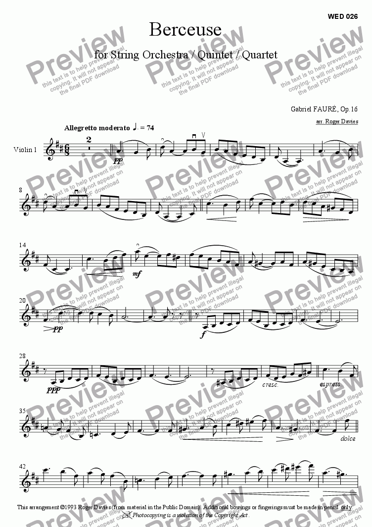 page one of the Violin 1 part from Berceuse, Op.16