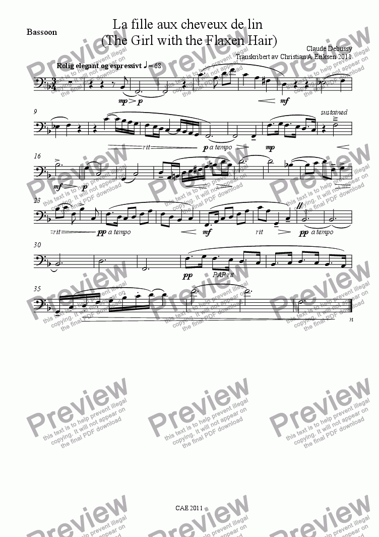 page one of the Bassoon part from La fille aux cheveux de lin / The girl with the flaxen hair for woodwind trio