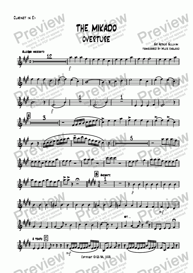 page one of the Eb Clarinet part from Overture to 'The Mikado'