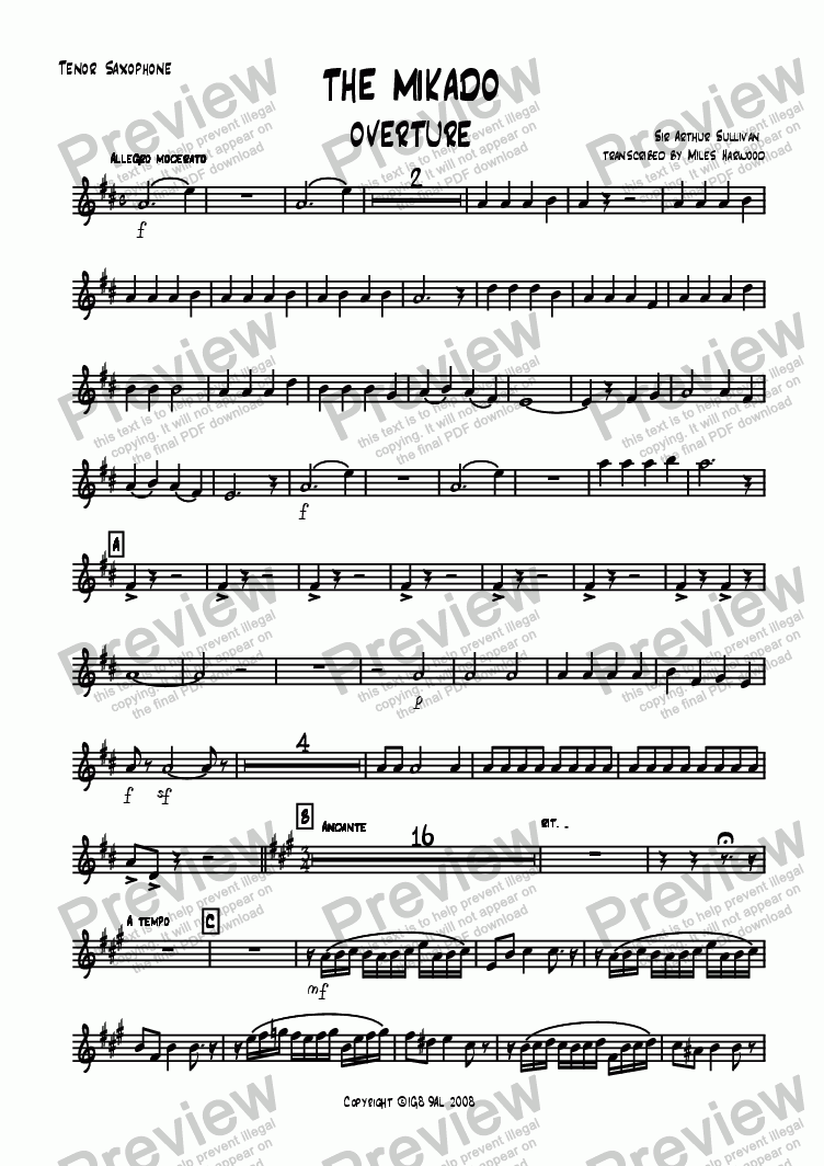 page one of the Tenor Sax part from Overture to 'The Mikado'