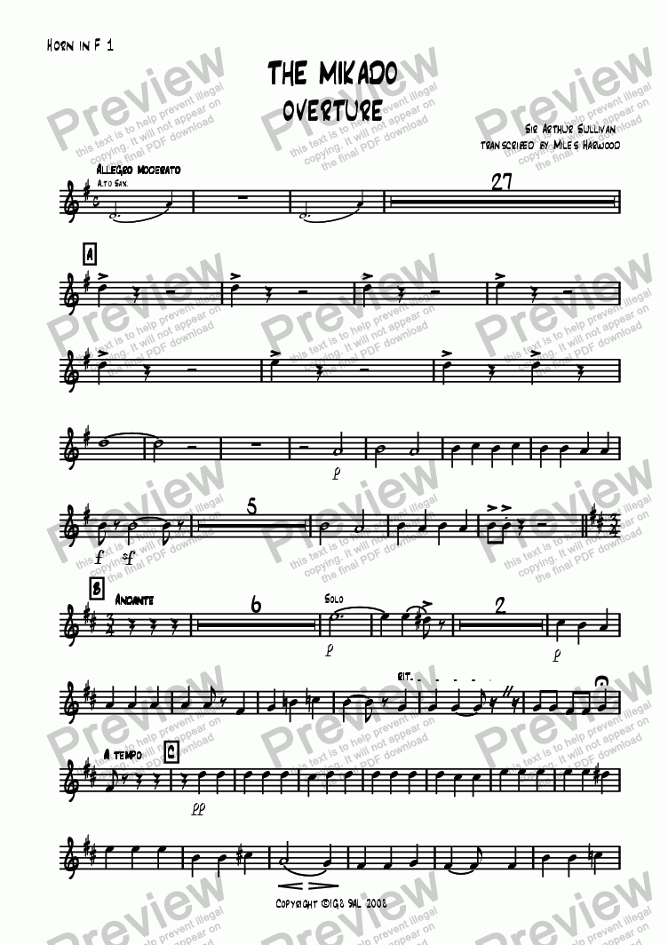 page one of the Horn 1 in F part from Overture to 'The Mikado'