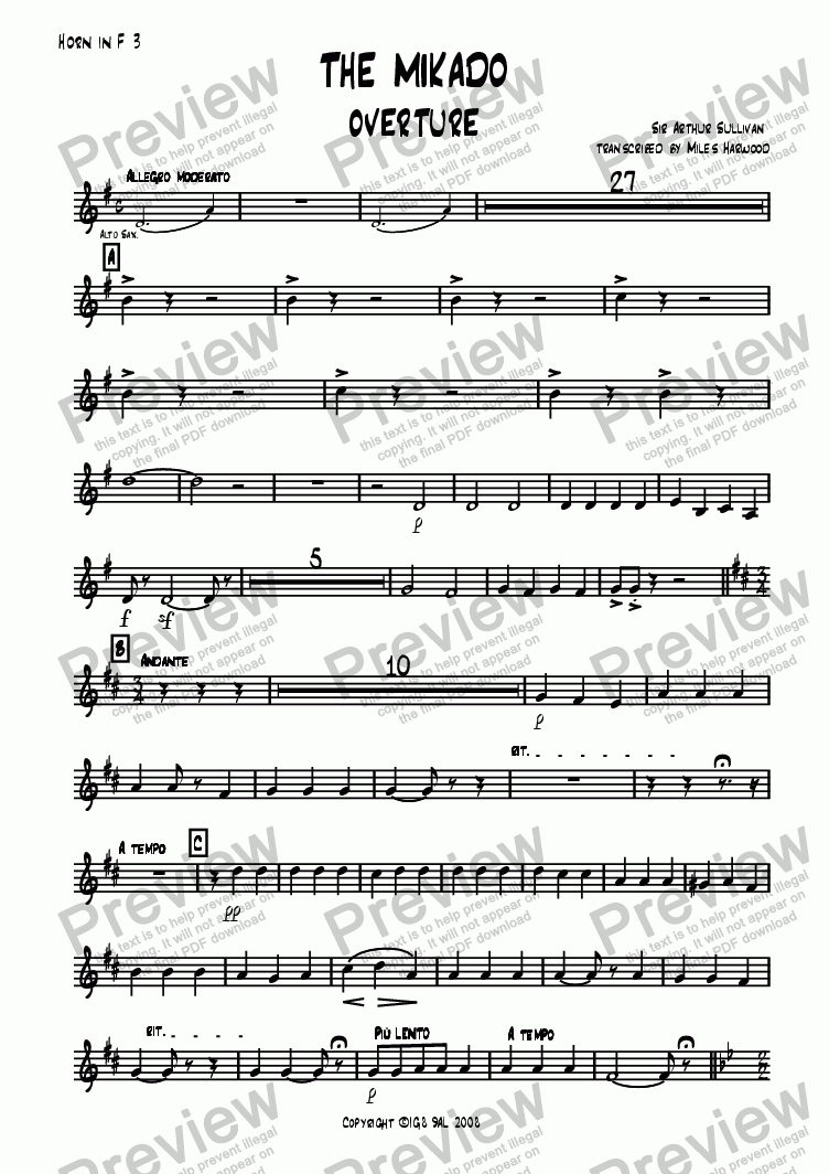 page one of the Horn 3 in F part from Overture to 'The Mikado'