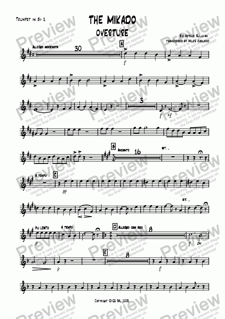page one of the Trumpet 1 part from Overture to 'The Mikado'