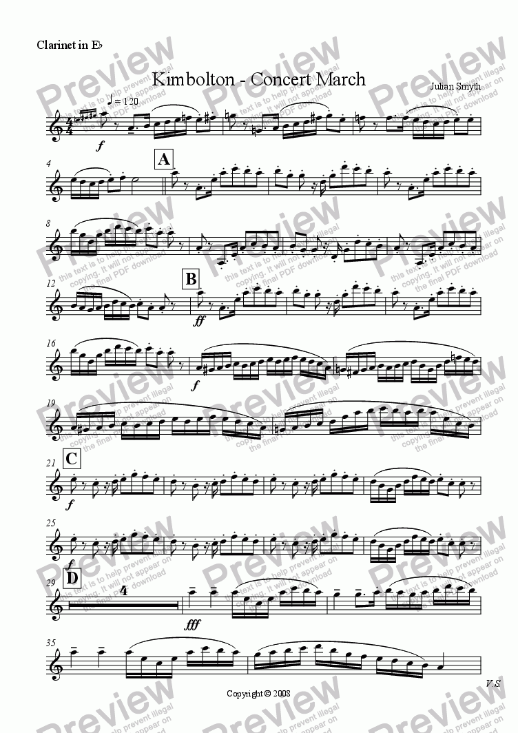 page one of the Eb Clarinet part from Kimbolton - March