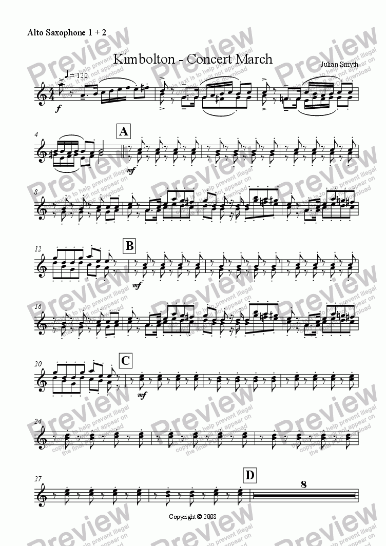 page one of the Alto Sax 1 & 2 part from Kimbolton - March