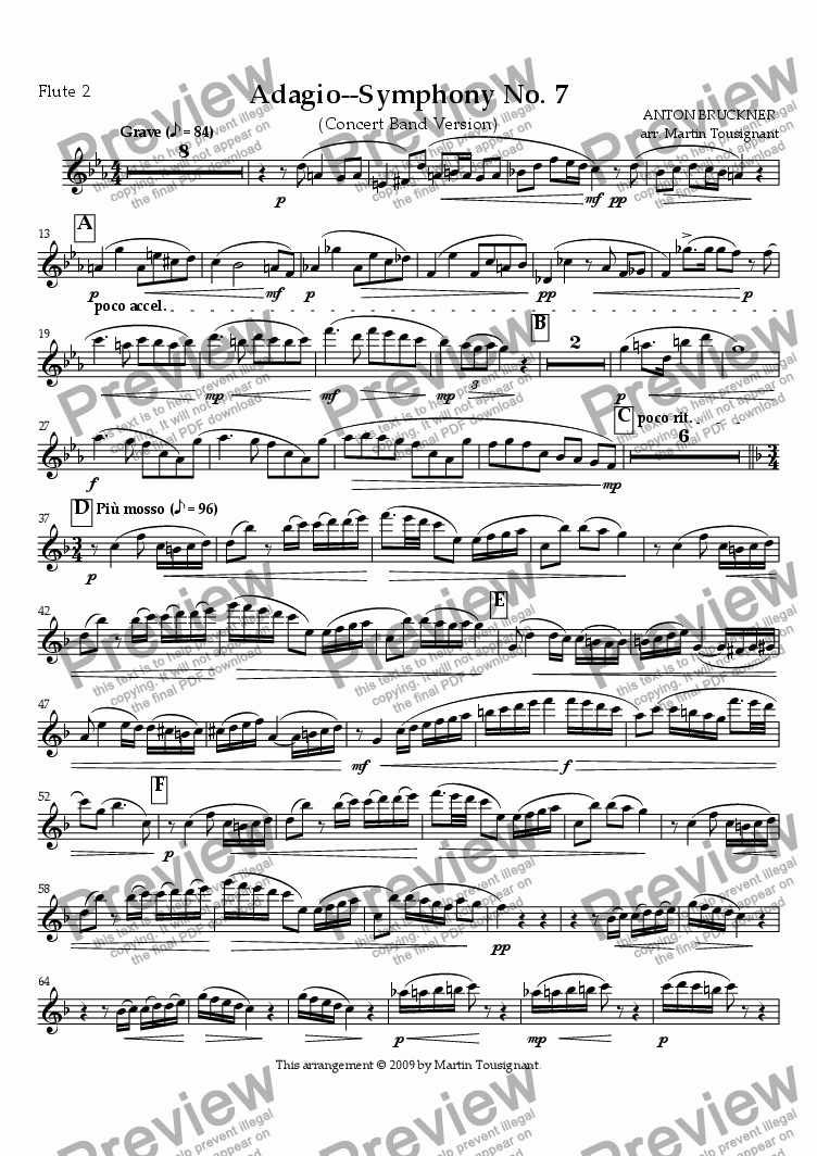 page one of the Flute 2 part from Symphony No. 7--Adagio