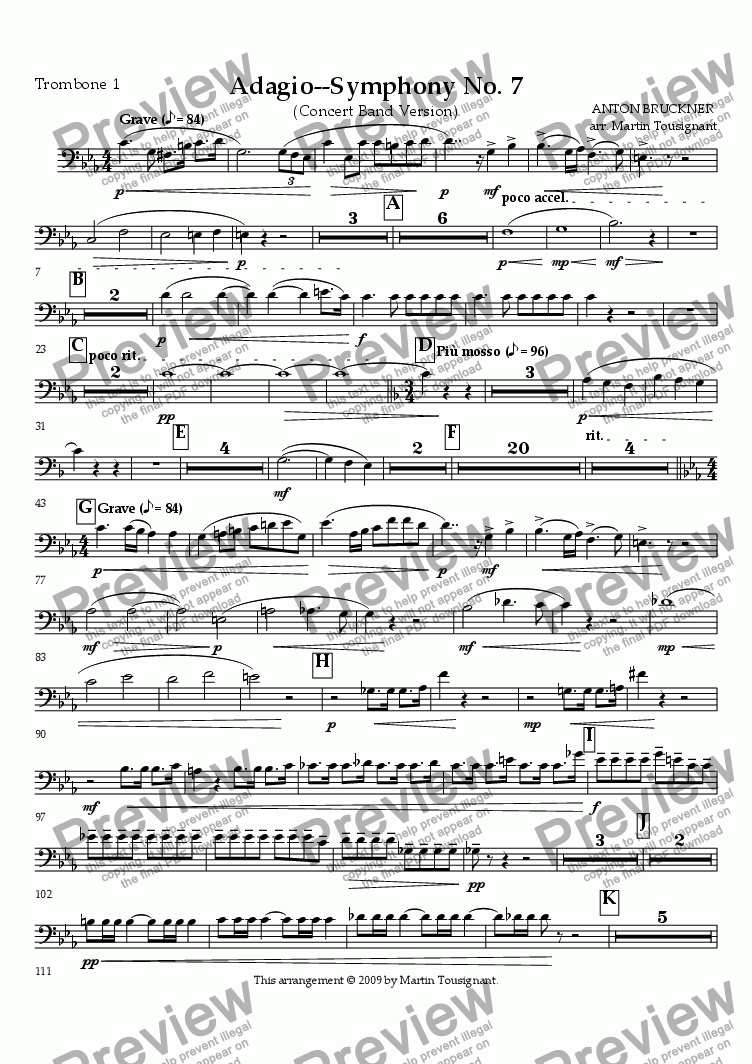 page one of the Trombone 1 part from Symphony No. 7--Adagio