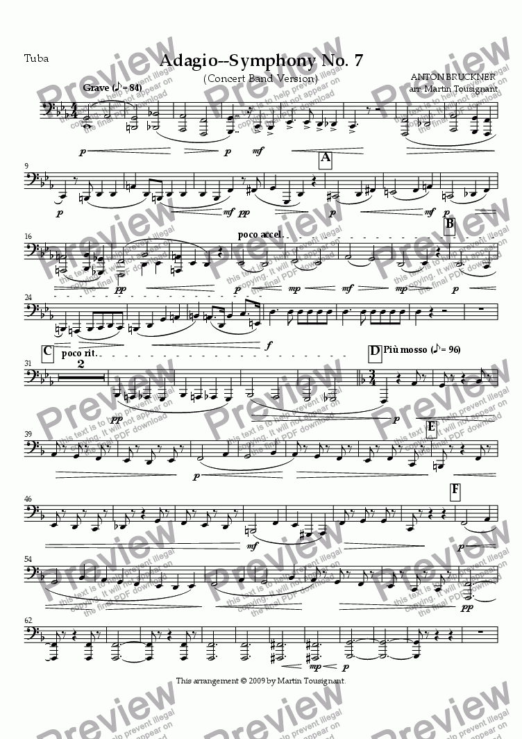 page one of the Tuba part from Symphony No. 7--Adagio
