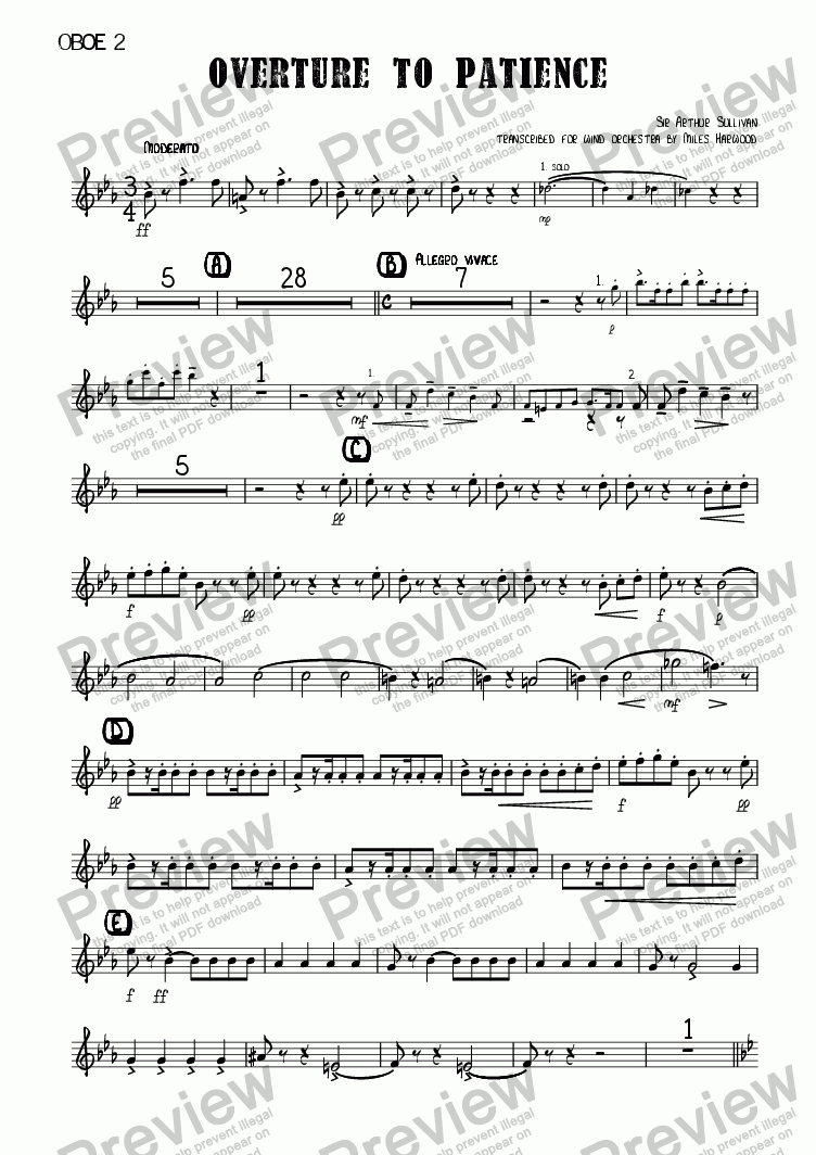 page one of the Oboe 2 part from Overture to 'Patience'