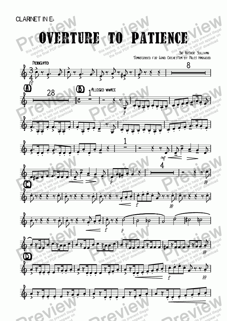 page one of the Clarinet in Eb part from Overture to 'Patience'