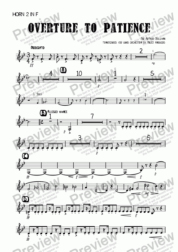 page one of the Horn 2 in F part from Overture to 'Patience'