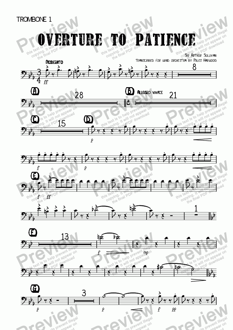 page one of the Trombone 1 part from Overture to 'Patience'
