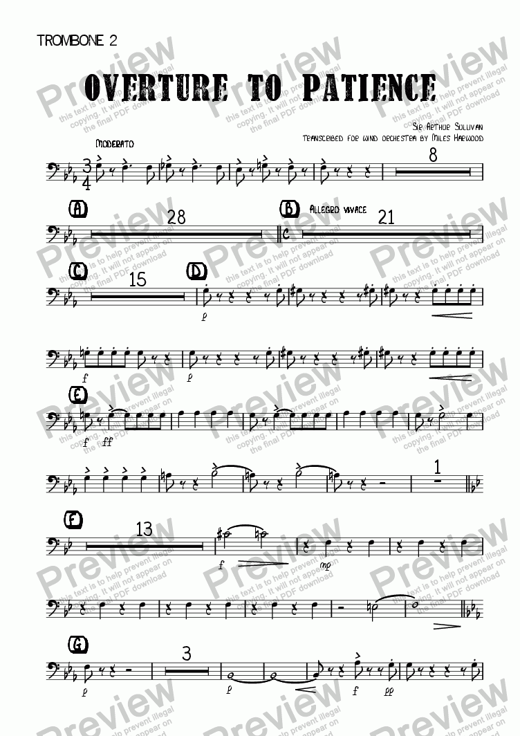 page one of the Trombone 2 part from Overture to 'Patience'