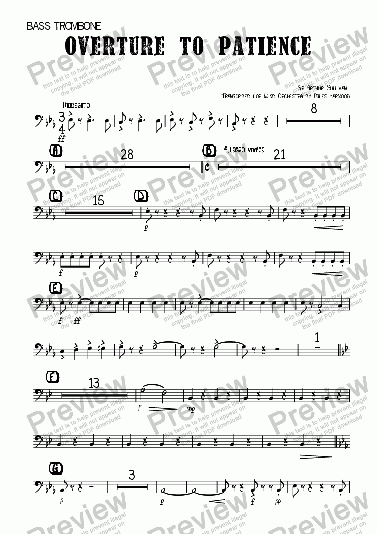 page one of the Bass Trombone part from Overture to 'Patience'