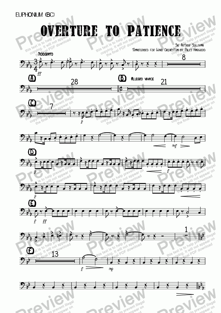 page one of the Euphonium (BC) part from Overture to 'Patience'