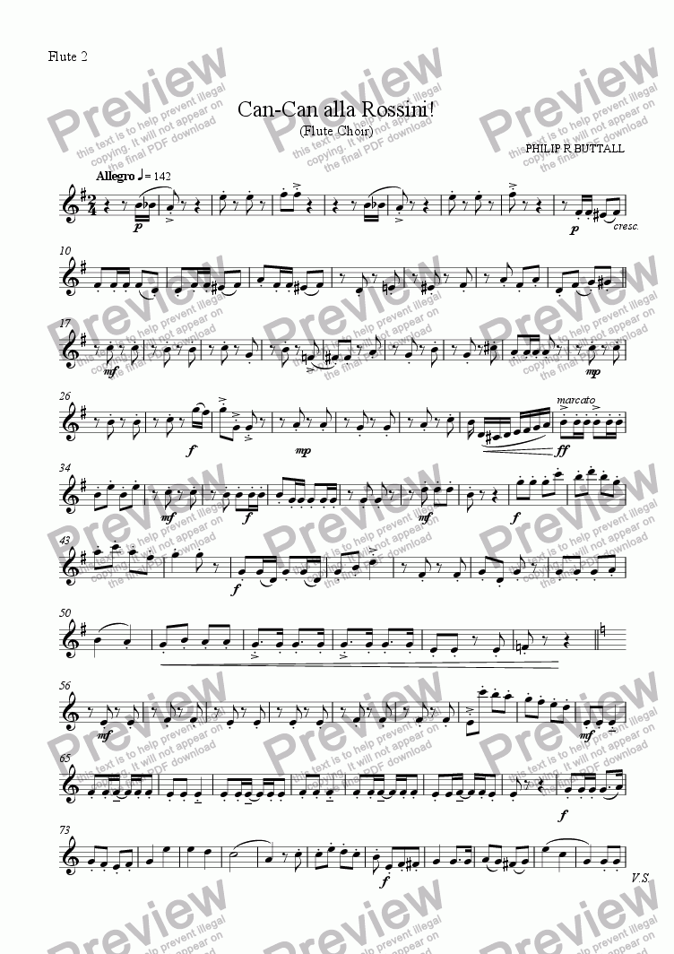 page one of the Flute 2 part from Can-Can alla Rossini! (Flute Choir)