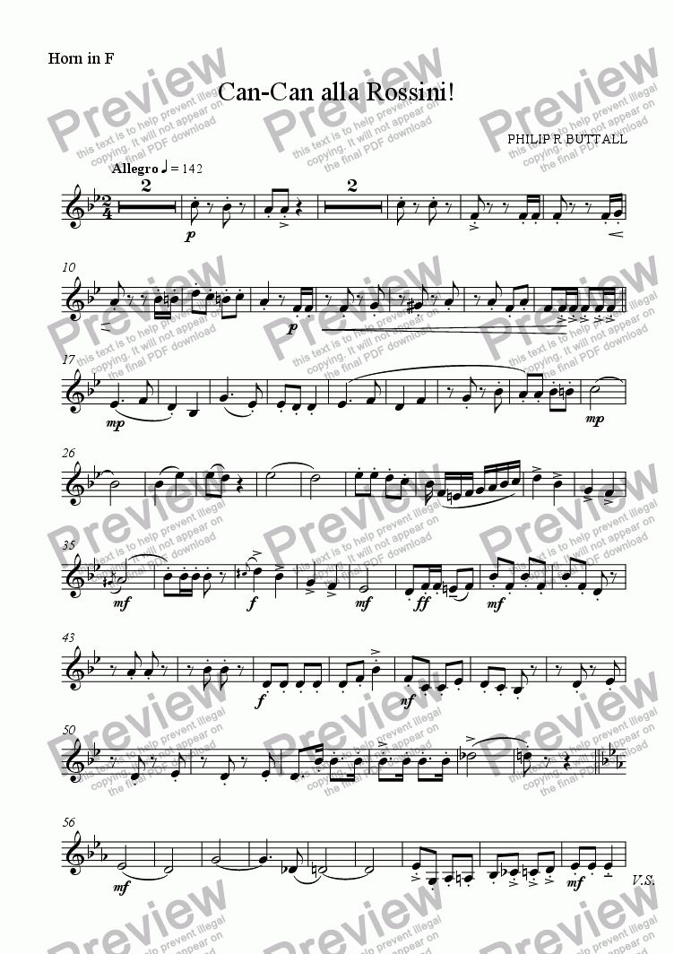 page one of the Horn in F part from Can-Can alla Rossini! (Brass Quintet)