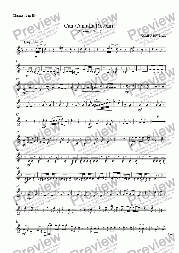 page one of the Clarinet 1 in Bb part from Can-Can alla Rossini! (Clarinet Choir)