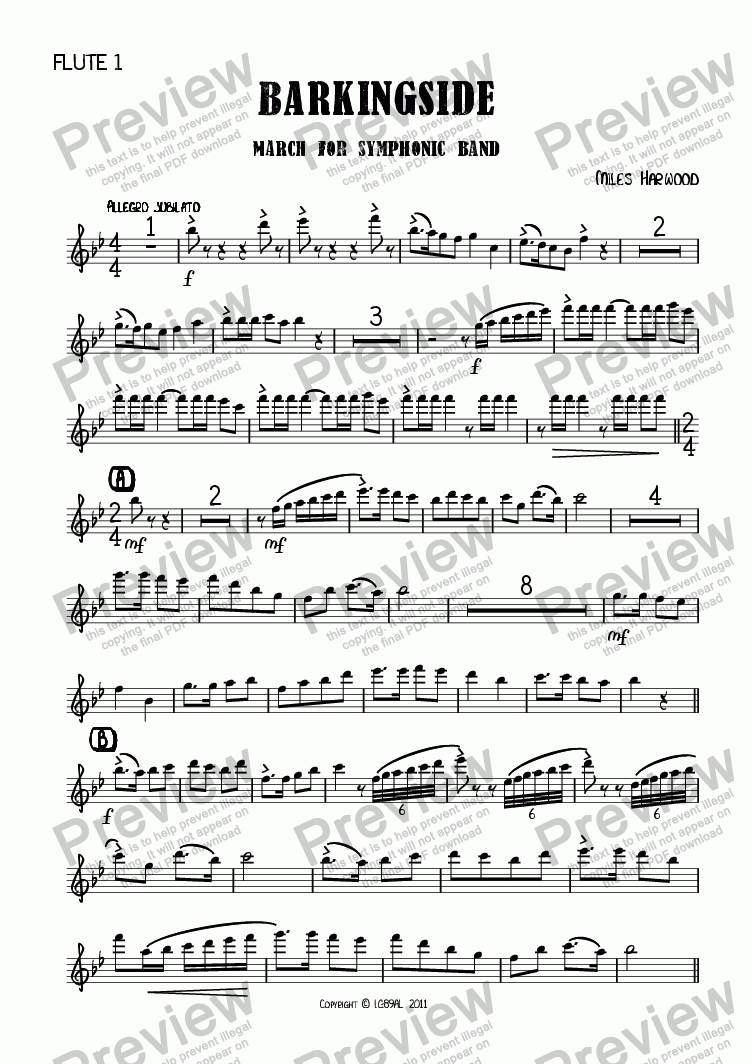 page one of the Flute 1 part from Barkingside Op.8