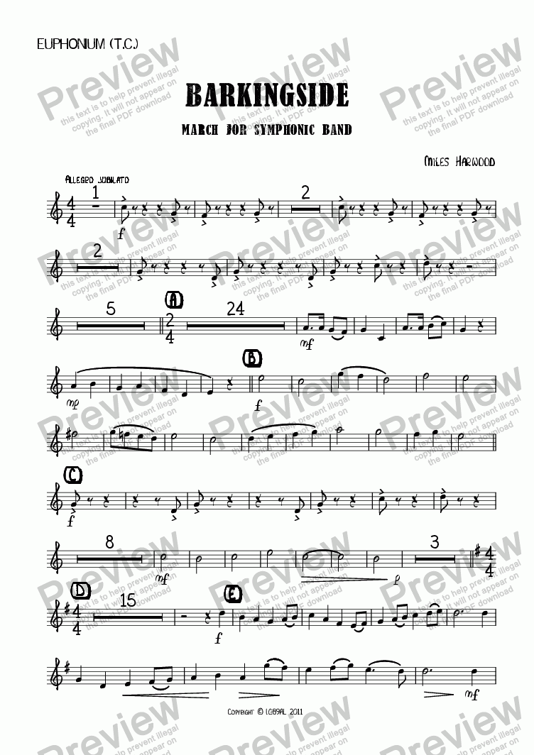 page one of the Euphonium (TC) part from Barkingside Op.8