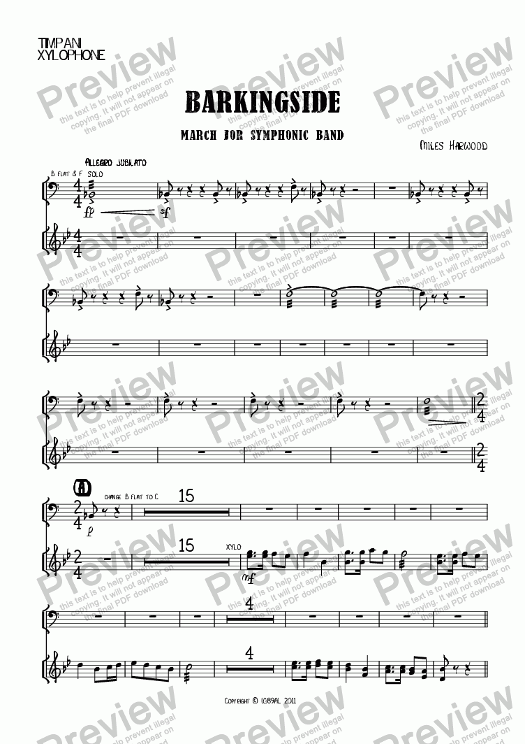 page one of the Timpani/Xylophone part from Barkingside Op.8