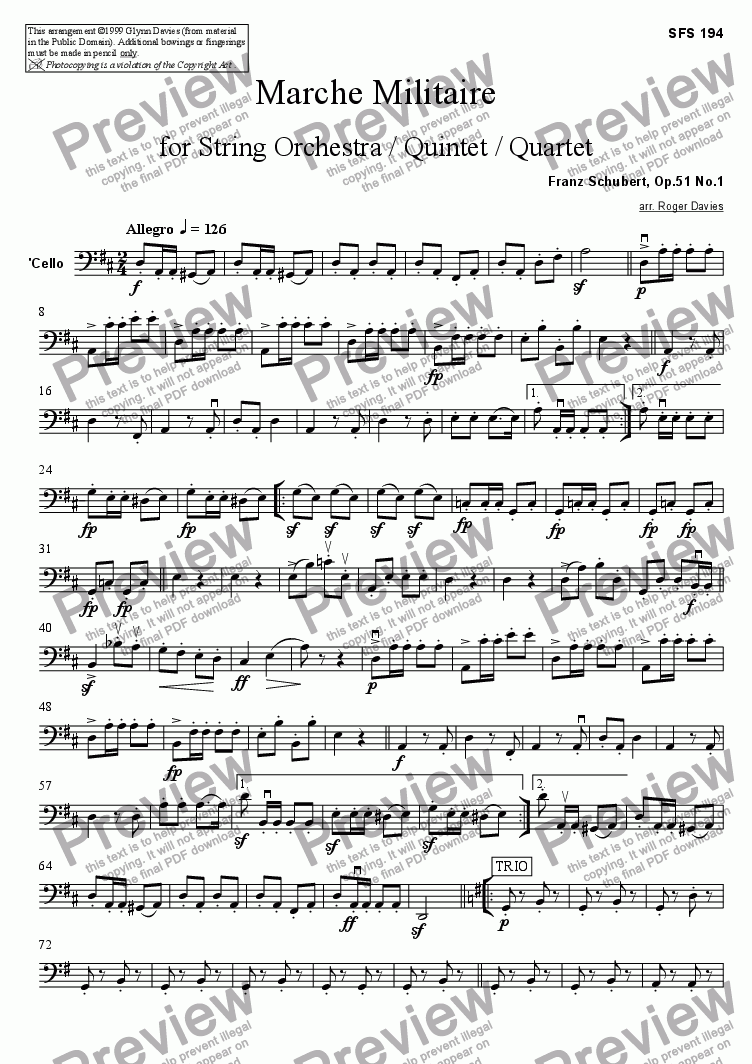 page one of the Cello part from Marche Militaire, Op.51 No.1